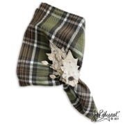 Fall Bark Leaf Napkin Rings Plaid Napkin