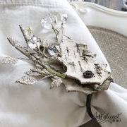winter bark leaf napkin ring detail