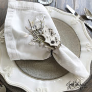 winter bark leaf napkin ring place setting
