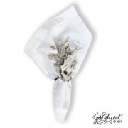 winter bark leaf napkin ring white napkin